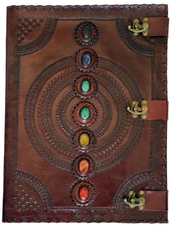 Huge Leather Embossed Journal with 7 Chakra Stones and 3 locks