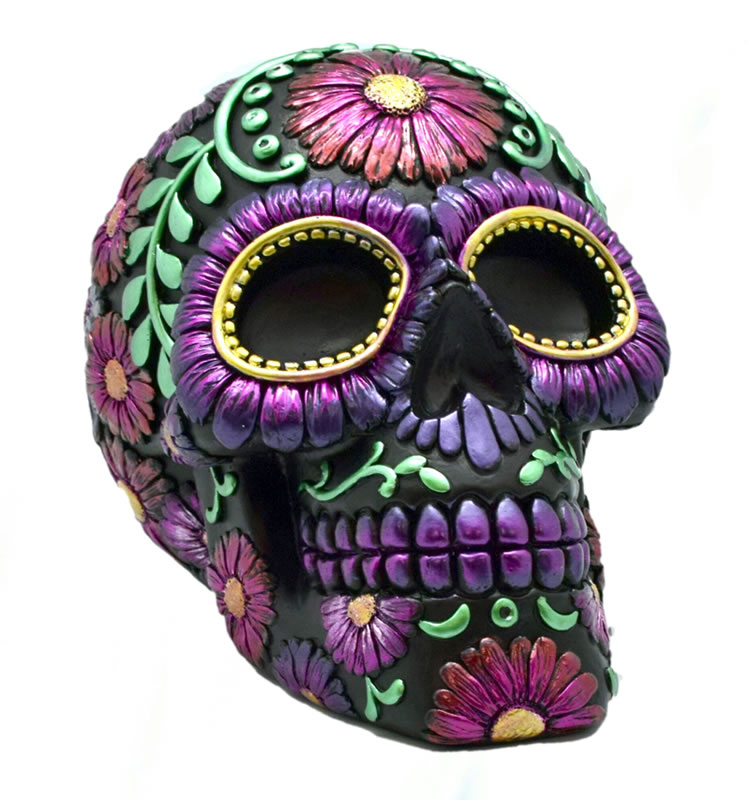 Large Purple Metallic Day of the Dead Bank