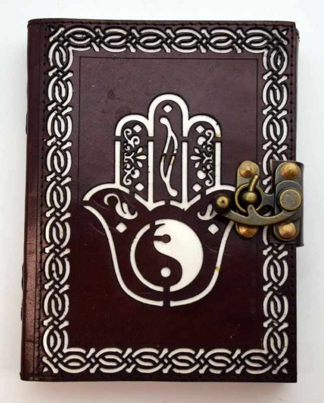 Hamsa Hand/ Ying Yang Leather Embossed Die Cut Journal