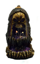 Skull Back Flow Incense Burner with LED Lights