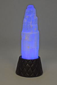 Selenite Crystal on a Quilted Pattern Base with Changing Colored LED